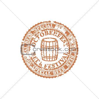Grunge Emblem Oktoberfest, vector illustration.