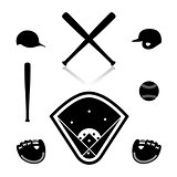 Equipment for baseball, vector illustration.