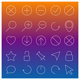 Set of linear Web icons, vector illustration.