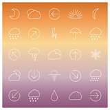 Set of linear weather icons, vector illustration