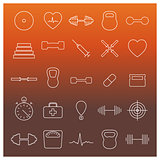 Icons sport and health, vector illustration.