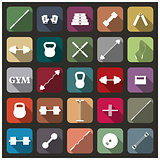 Icons equipment for the gym, vector illustration