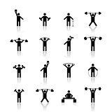 Set athlete silhouettes, vector illustration