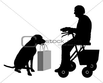 Old woman with dog