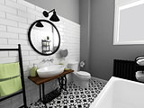 black and white bathroom interior