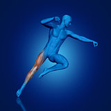 3D blue medical figure jumping
