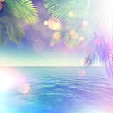 3D tropical landscape with palm trees and ocean and retro effect