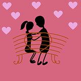 Happy valentine day couple sitting on bench, romantic relationship illustration