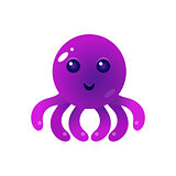 Purple Balloon Octopus Character