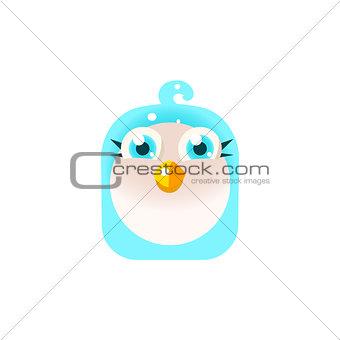 Blue Adorable Chick Square Icon