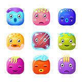 Square Fantastic Creature Face Emoji Set