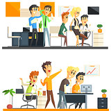 Office Team Two Illustrations Collection