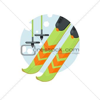 Skiing Round Sticker