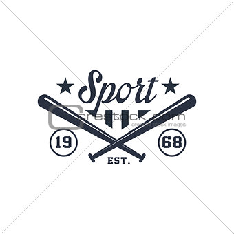 Classic Sport Label With Crossed Bats