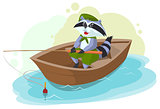 Raccoon in boat fishing. Scout fisherman
