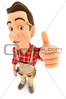 3d handyman positive pose with thumb up