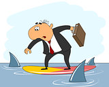 Businessman riding surfboard