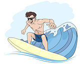 Young guy riding surfboard