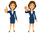 Businesswoman ok gesture