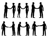 Businessmen handshake silhouettes