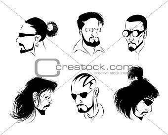 Six mans faces