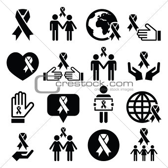 Awareness ribbons with people - black vector icons set