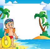Beach theme frame with small swimmer