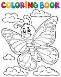 Coloring book happy butterfly topic 1