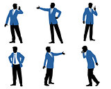 Six businessman silhouette