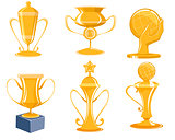 Six gold cups