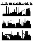 Three factories silhouettes
