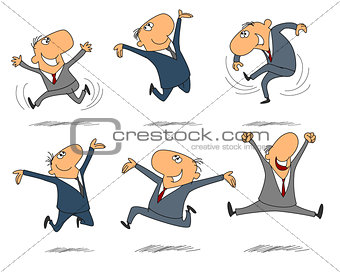 Six jumping businessmen