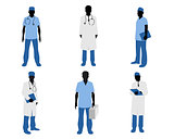 Doctors silhouettes on white