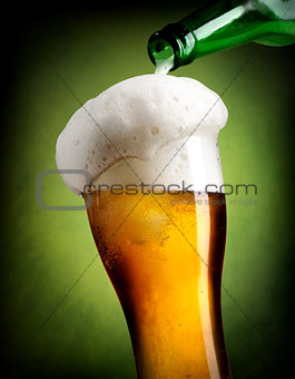 Pouring beer on green