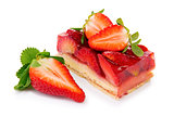 Dessert - strawberry pie isolated.