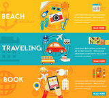 Traveling Concepts - Beach, Sightseeing, Searching and Booking, Tourism. Flat material horizontal banners