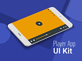 Media player mobile app UI smartphone mockup