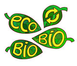 Hand drawn set of Eco labels. Ecology Inscriptions on leaf.
