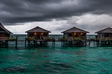 Water villas during bad weather