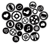 Machine gears with Social Media Symbols
