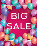 Big sale poster on red background with flying balloons and white