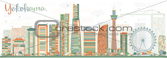 Abstract Yokohama Skyline with Color Buildings.