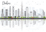 Dubai City skyline with Gray Skyscrapers and Reflections Isolate