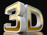 3D logo isolated on white background with reflection effect.
