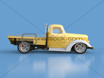 Old restored pickup. Pick-up in the style of hot rod. 3d illustration. Golden-white car on a blue background.