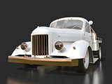 Old restored pickup. Pick-up in the style of hot rod. 3d illustration. White car on a black background.