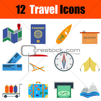 Flat design travel icon set