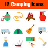 Flat design camping icon set
