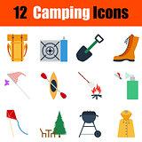 Flat design camping icon set