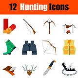 Flat design hunting icon set